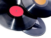 Vinyl records isolated