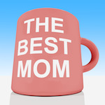 The Best Mom Mug With Sky Background Showing A Loving Mother